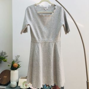 MILLY Heather Gray Scallop Ballet Fit &Flare Dress